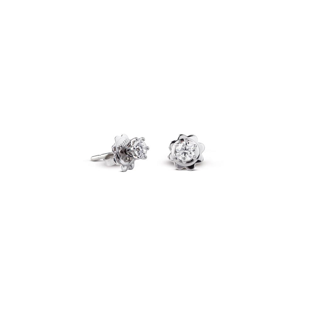Earrings in white gold with 0.42 ct diamonds