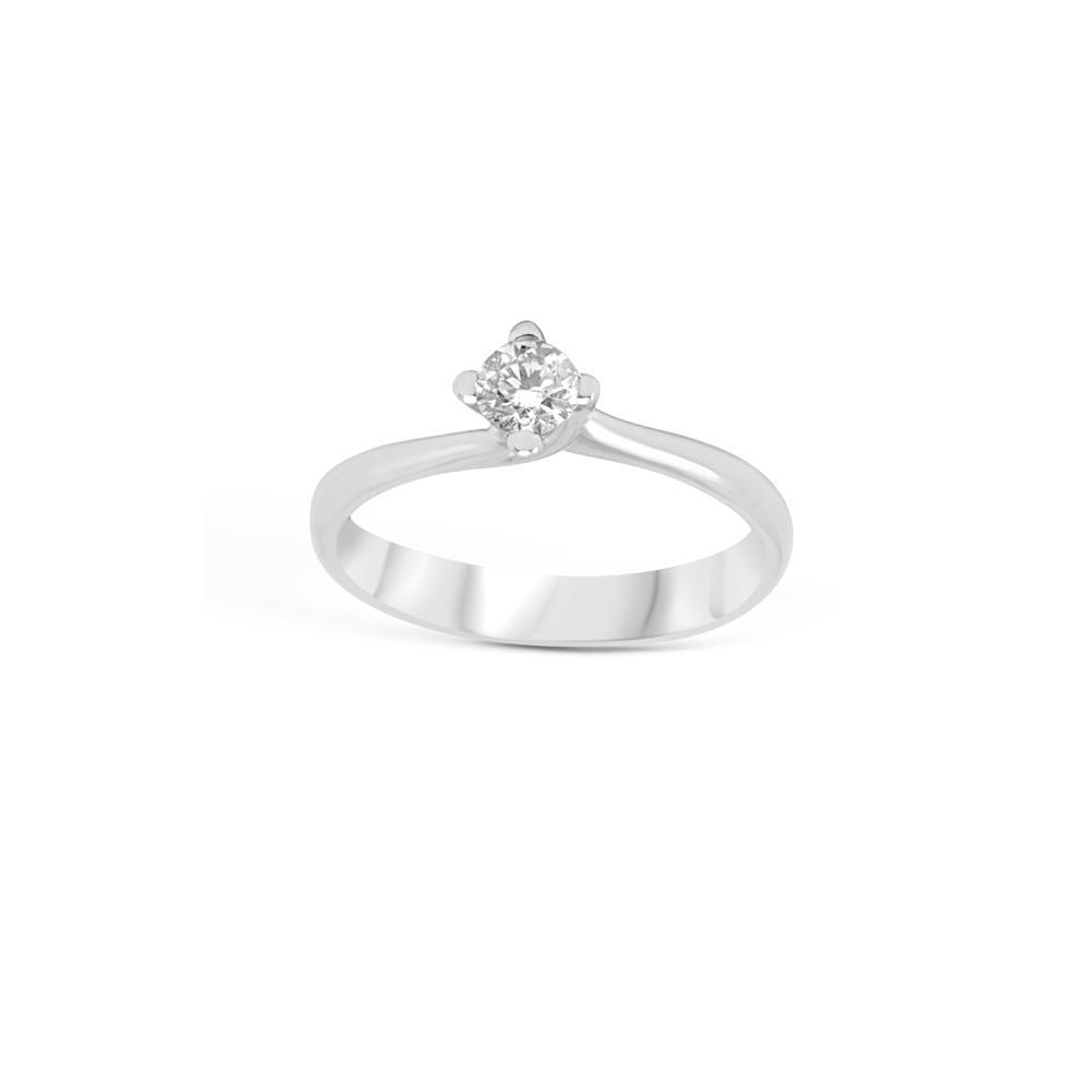 Anello solitario in oro bianco con diamante 4 griffes valentino ct 0,20 Disponibile in varie carature
