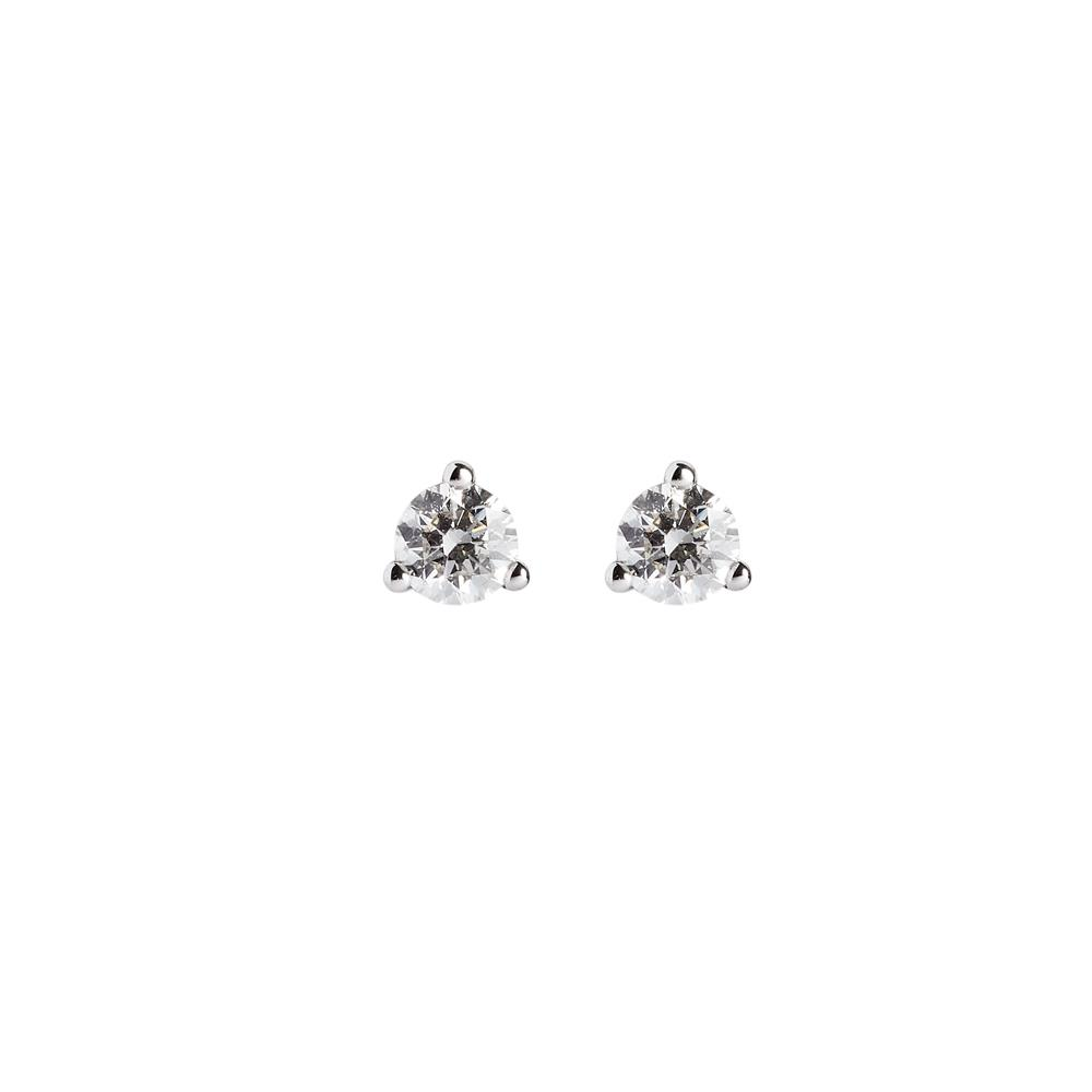pendientes punto de luz 3 griffes en oro blanco con diamantes ct total 0,50 Disponible en varios quilates