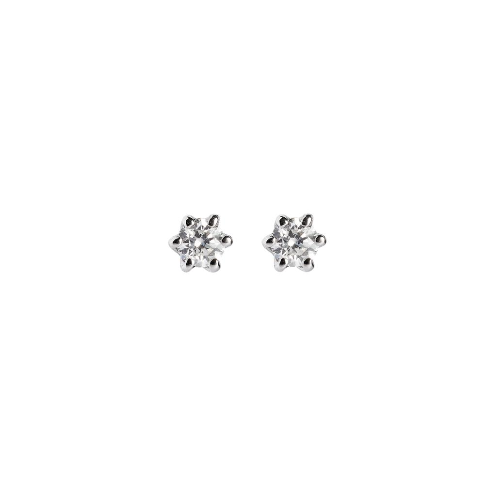 6 griffes earrings set in 18 kt white gold with 0.80 ct diamonds