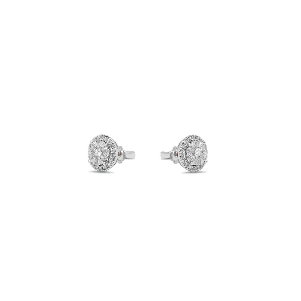 White gold earrings with 0.50 ct diamonds, invisible setting