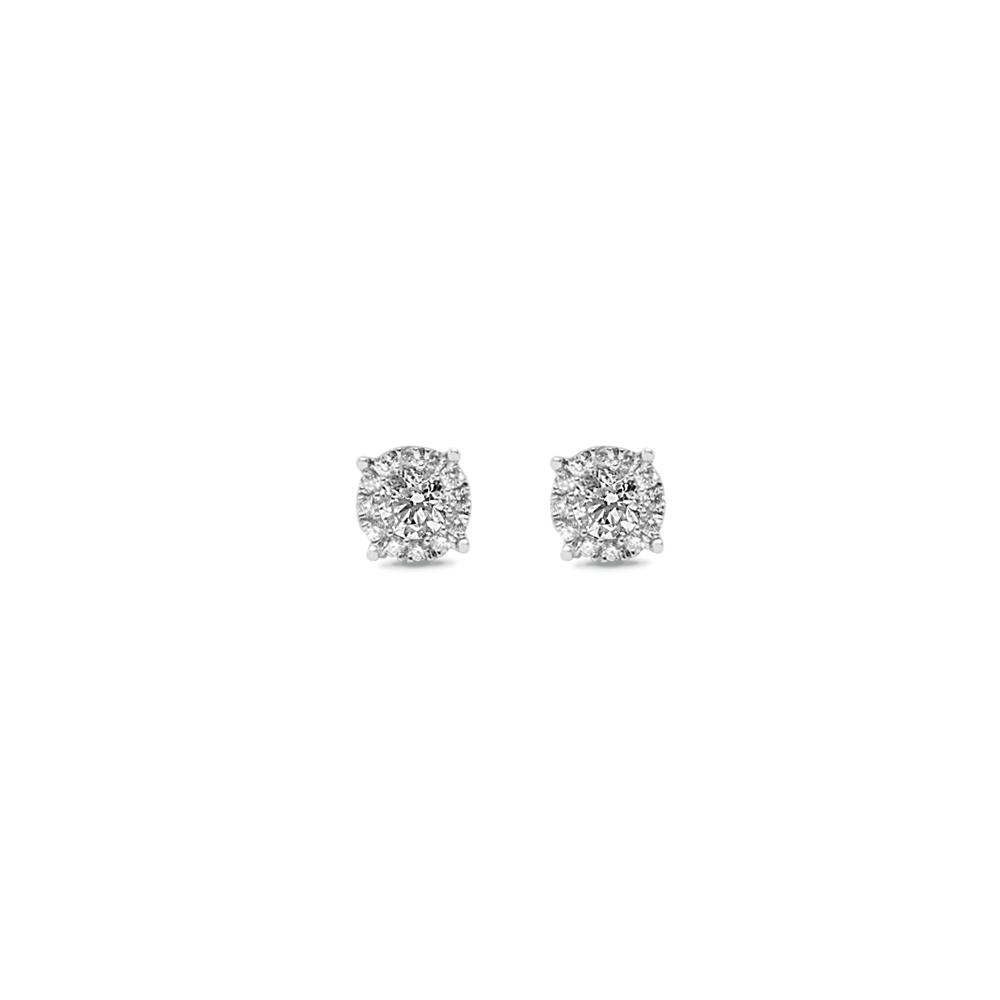 White gold earrings with 0.52 ct diamonds, invisible setting
