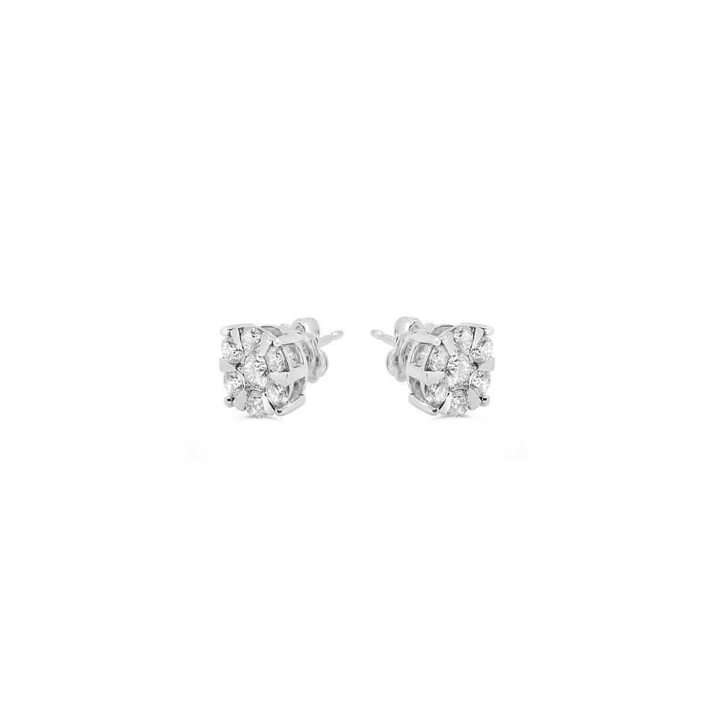 White gold earrings with 1.70 ct diamonds invisible setting 