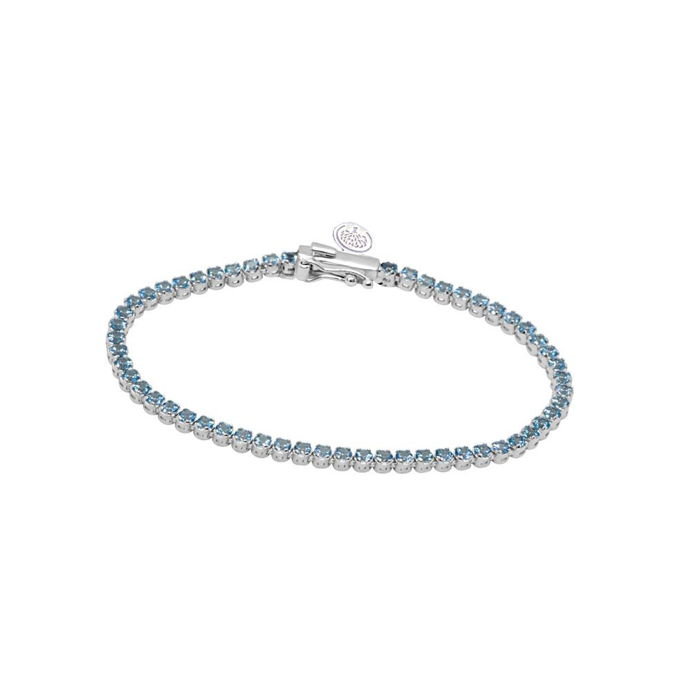 18 kt white gold tennis bracelet and topazs with 0,005 ct diamond