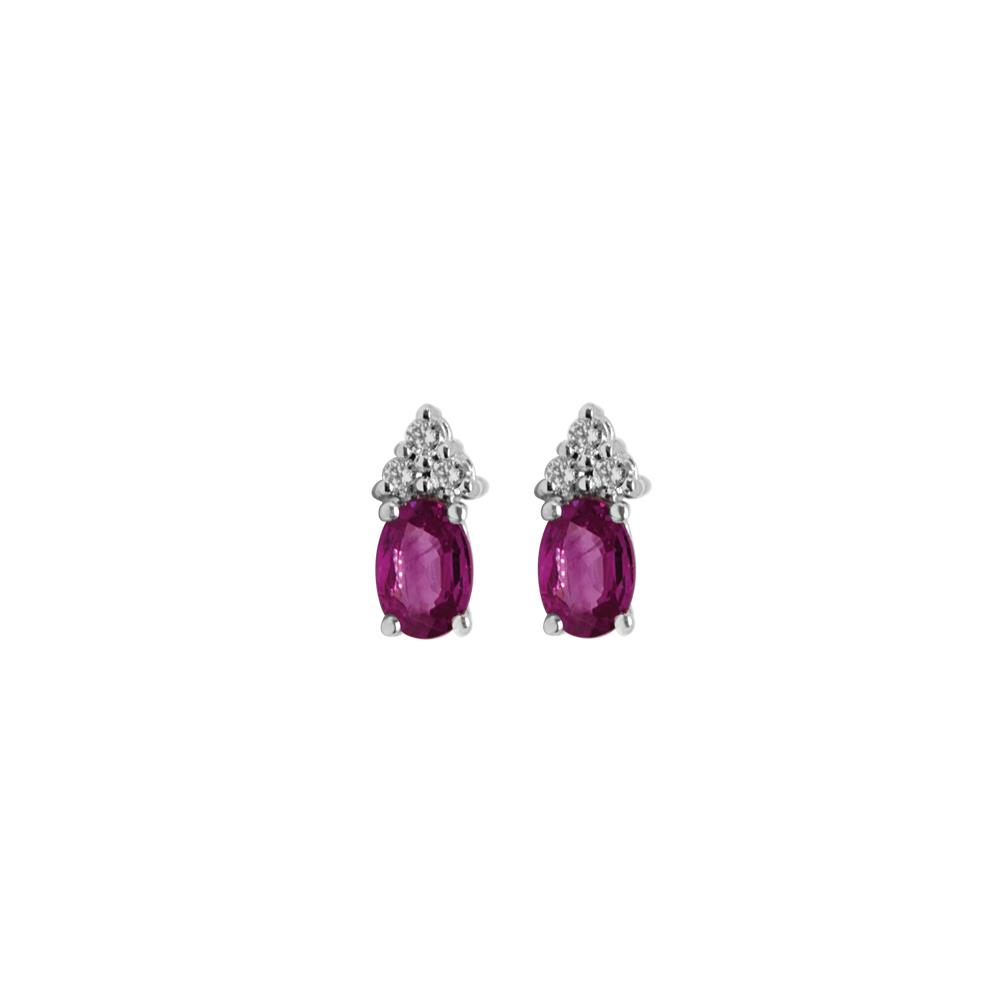 White gold earrings with 0.10 ct  diamonds and 1.00 ct oval cut rubies 