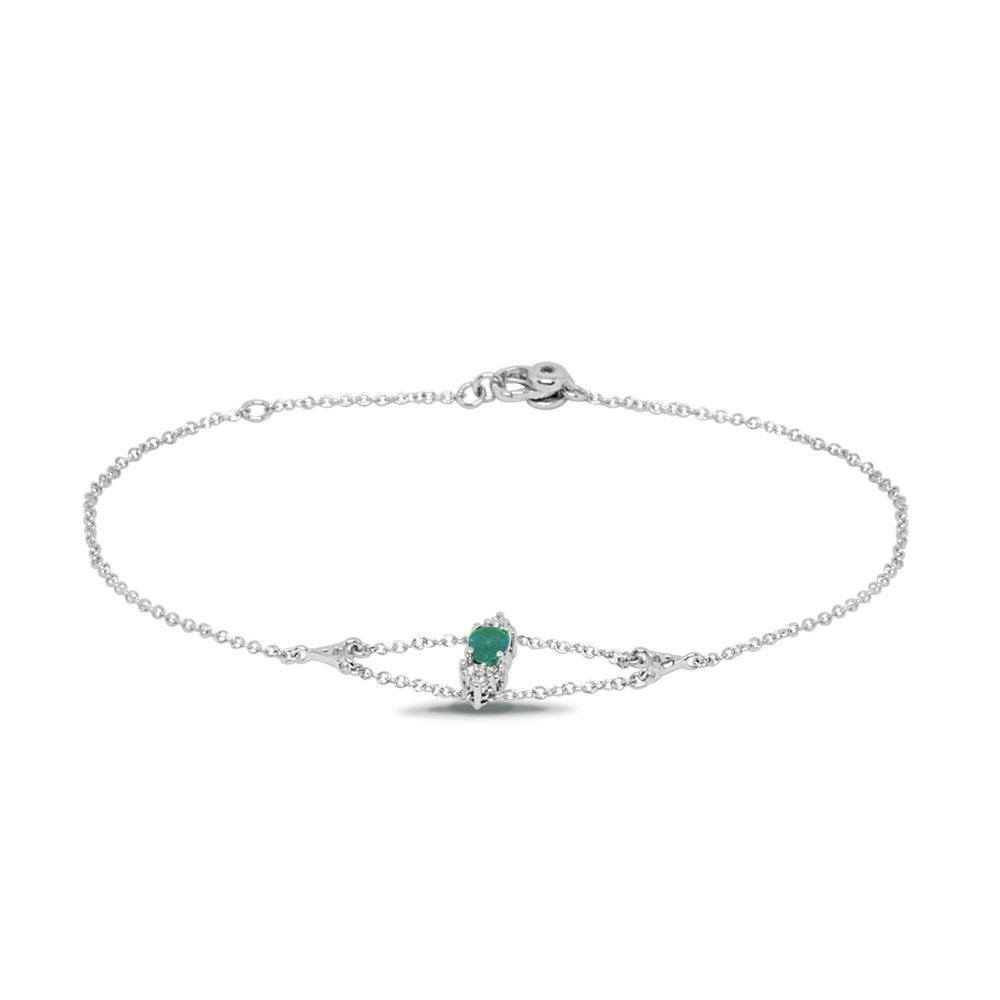 White gold bracelet with 0.18 ct diamonds and 0.80 ct oval cut emerald 