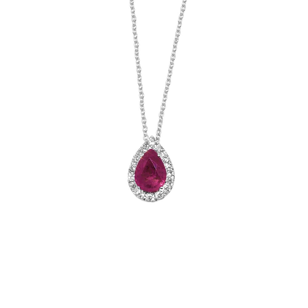 White gold pendant with 0,17 ct diamonds and 0,90 ct  pear cut ruby