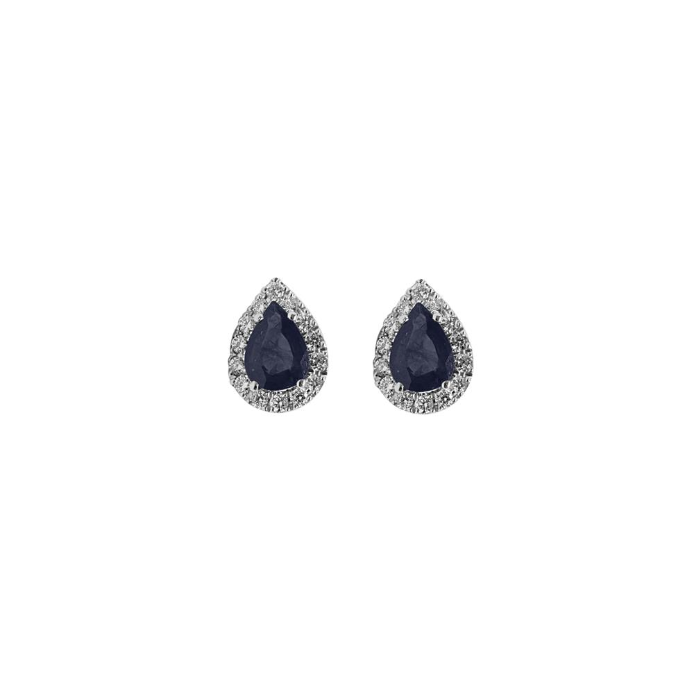 White gold earrings with 0.34 ct diamonds and 1.80 ct pear cut sapphires 