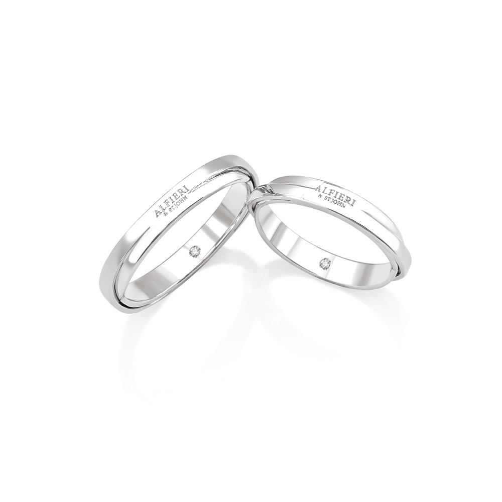 Braided wedding ring in white gold and diamond ct. 0,01