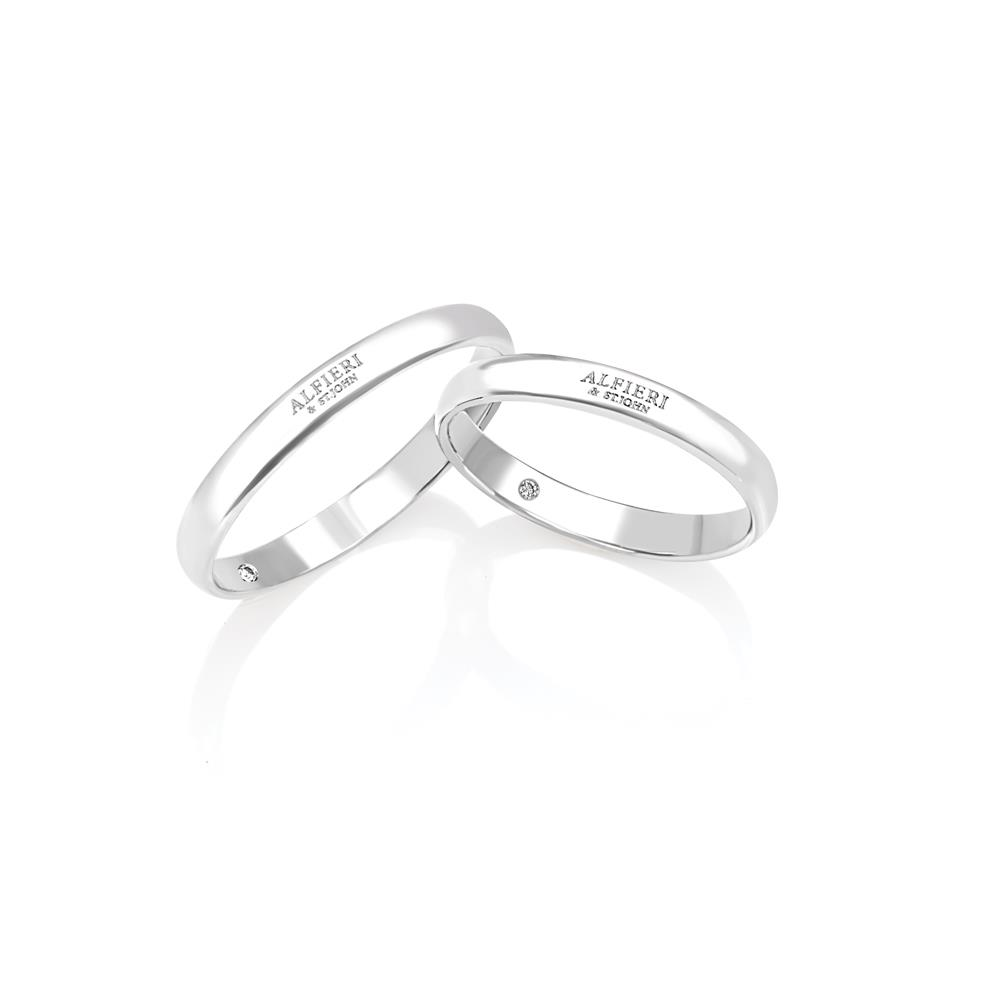 Francesina wedding ring in white gold and diamond ct. 0,01