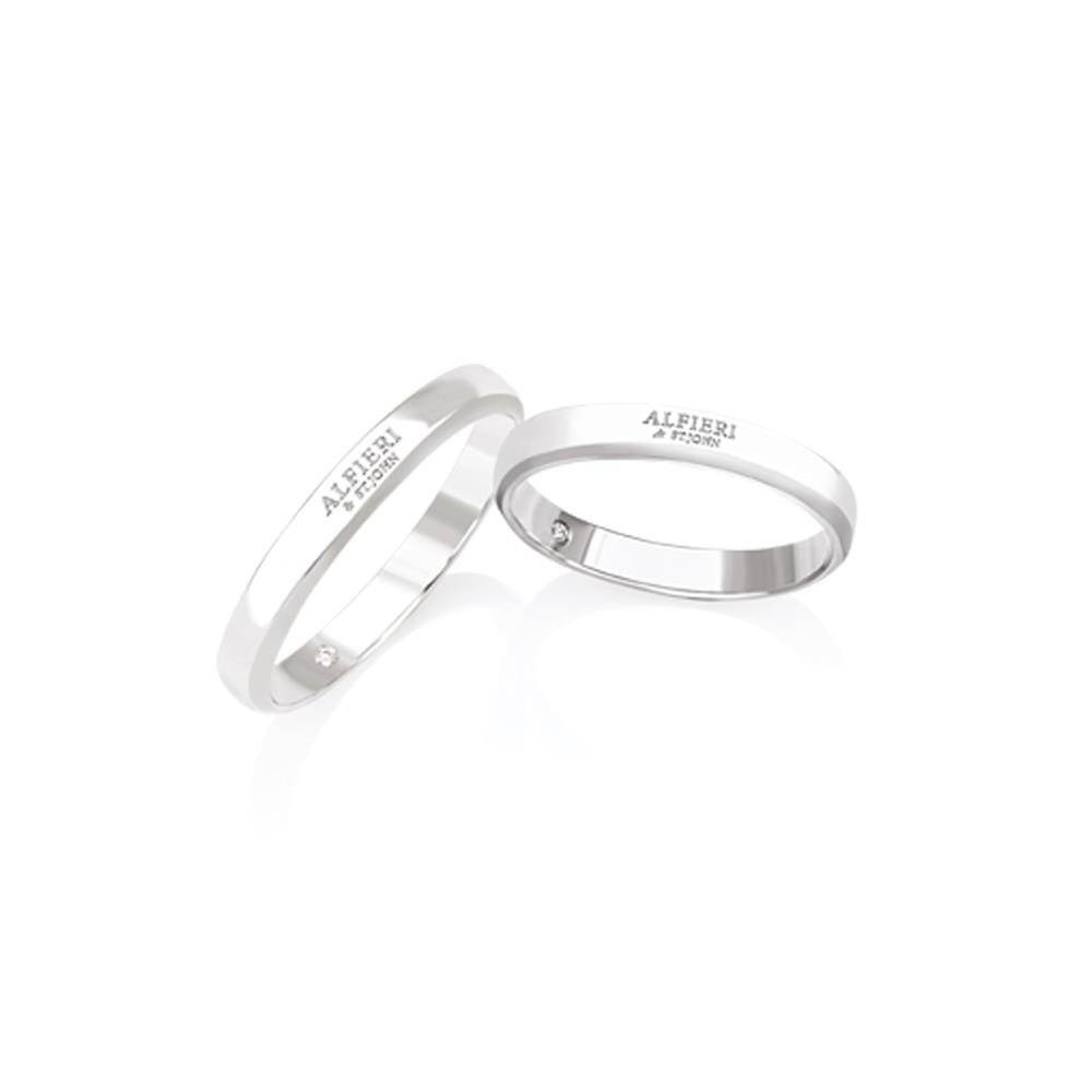 Flat wedding ring in white gold and diamond ct. 0,01