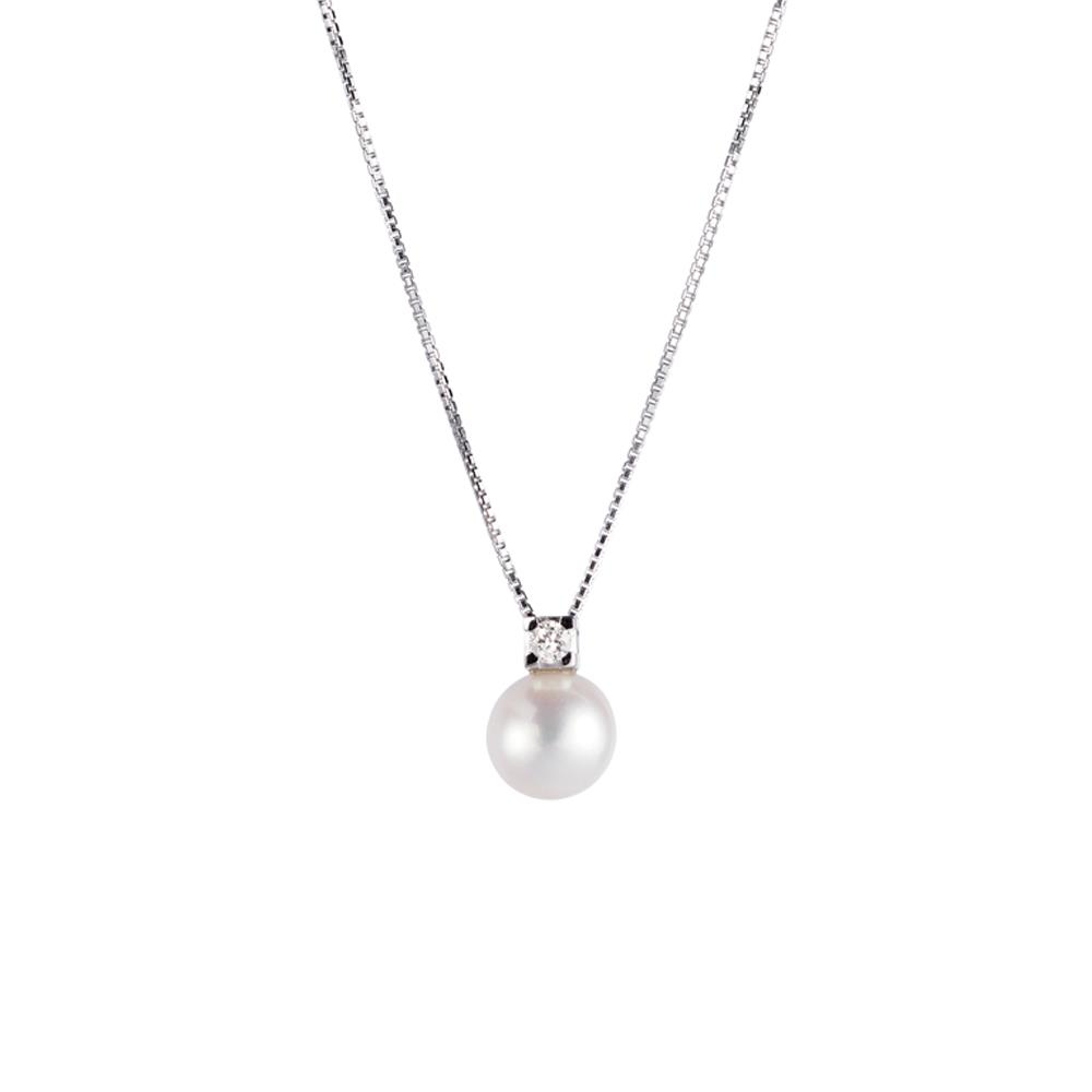 18 kt white gold necklace with freshwater pearl (8-8,5mm diameter) and 0,05 ct diamond  pendant