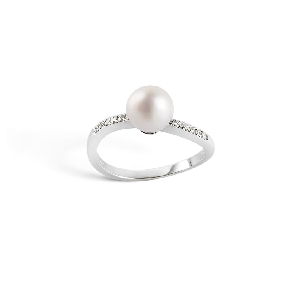 18 kt white gold ring with freshwater pearls (7,5-8 mm diameter) and ct 0,08 diamonds. 