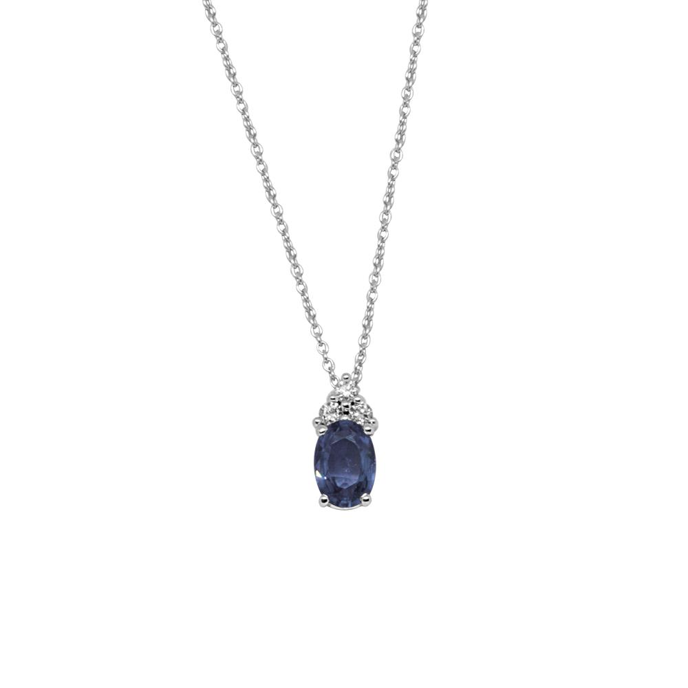 White gold pendant with 0.09 ct  diamonds and 0.90 ct oval cut sapphire 7x5 
