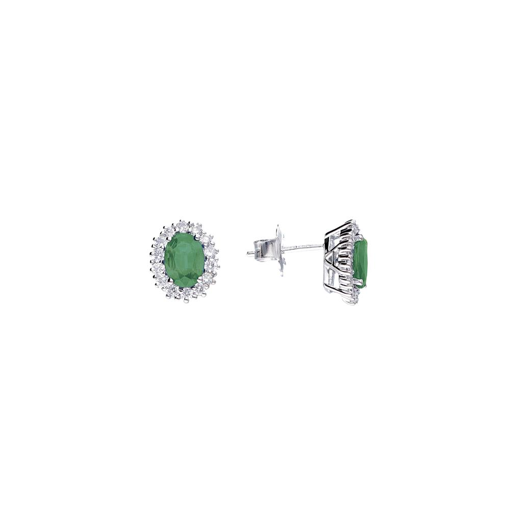 White gold earrings with diamonds 0,50 ct and emeralds 1,60 ct Available in different weighing in carats and precious stone