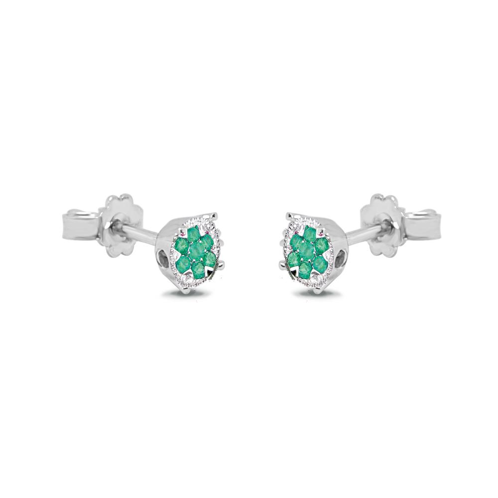 White gold earrings with 0.18 ct diamonds and 0.45 ct emeralds Available in different precious stone