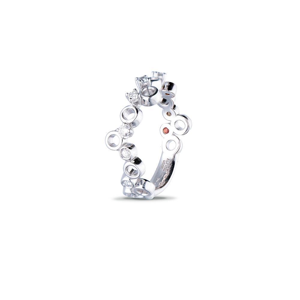 Anello in oro bianco con diamanti ct 0,14
