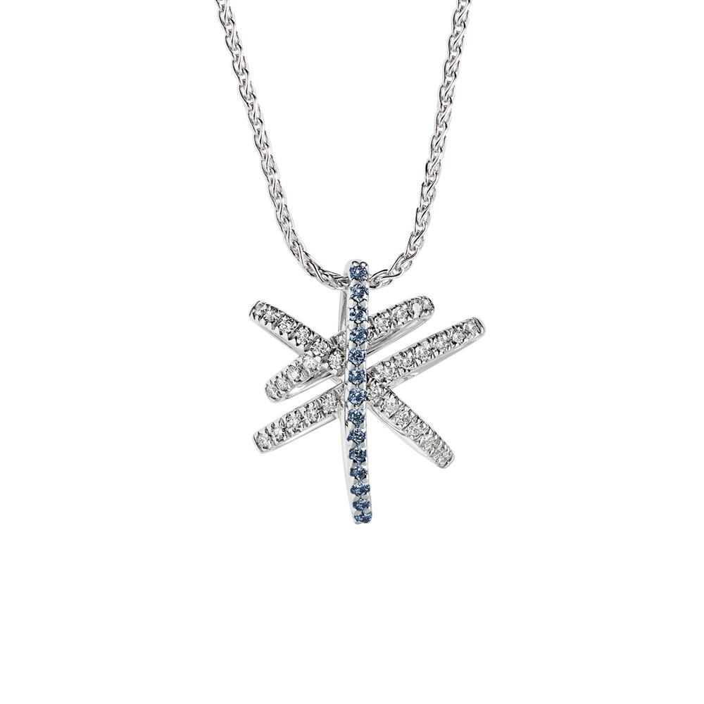 White gold pendant with 0.28 ct diamonds and 0.15 ct sapphires Chain lenght: 42/45 cm