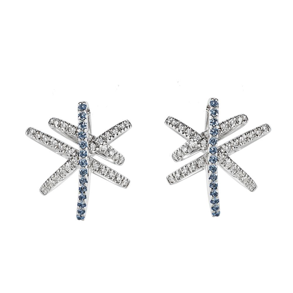 White gold earrings with 0.50 ct diamonds and 0.30 ct sapphires