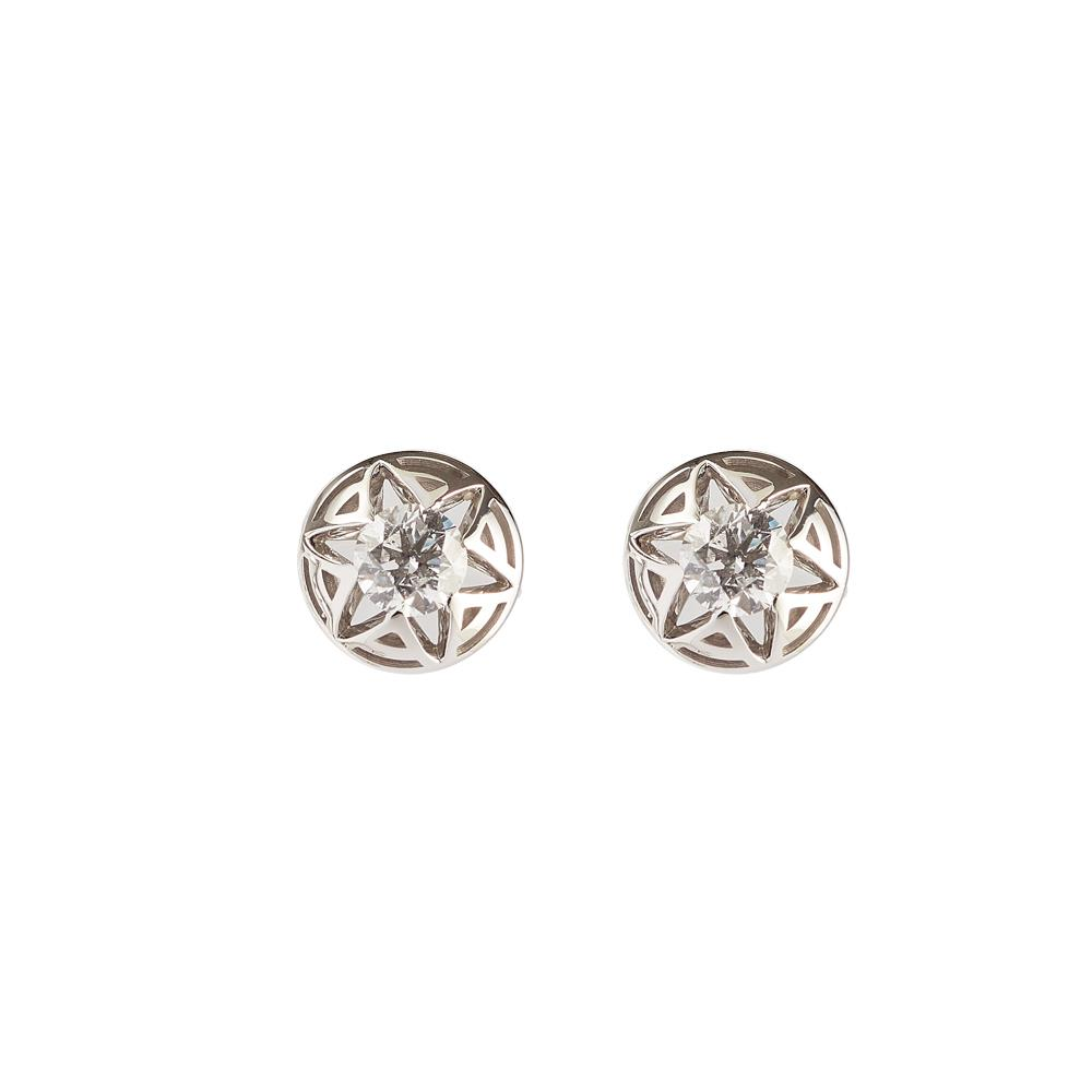 Pendientes en oro blanco con diamantes 0.50 quilates, detalles «A»