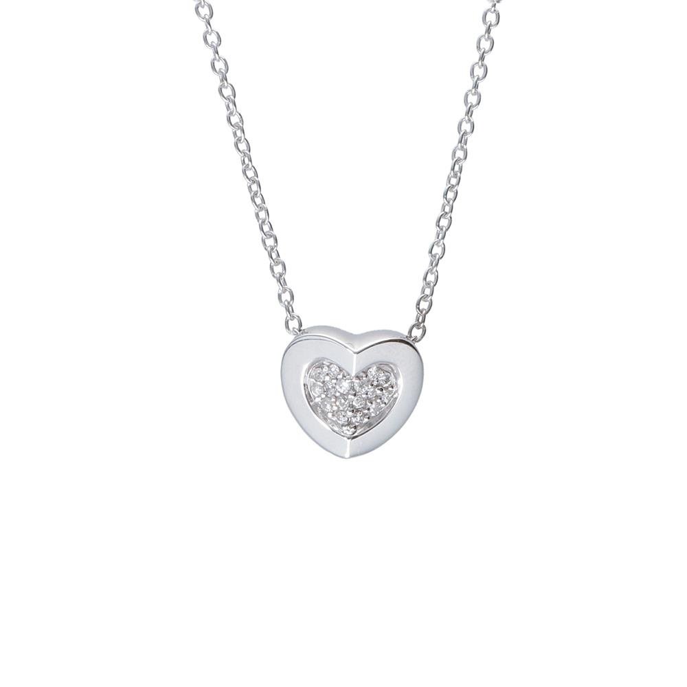 White gold necklace with heart pendant and 0.12 ct  diamonds 