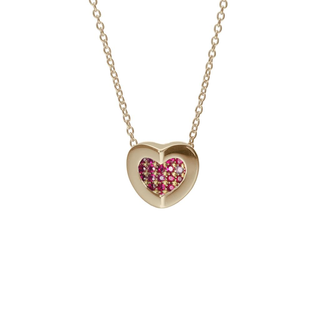 Yellow gold necklace with heart pendant with 0.01 ct diamonds and 0.12 ct rubies  