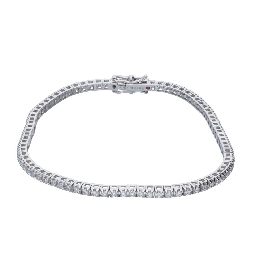 Bracciale tennis piramide in oro bianco con diamanti 