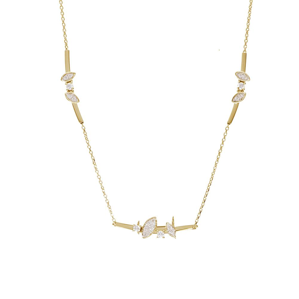 Yellow gold necklace with diamonds 0,35 ct