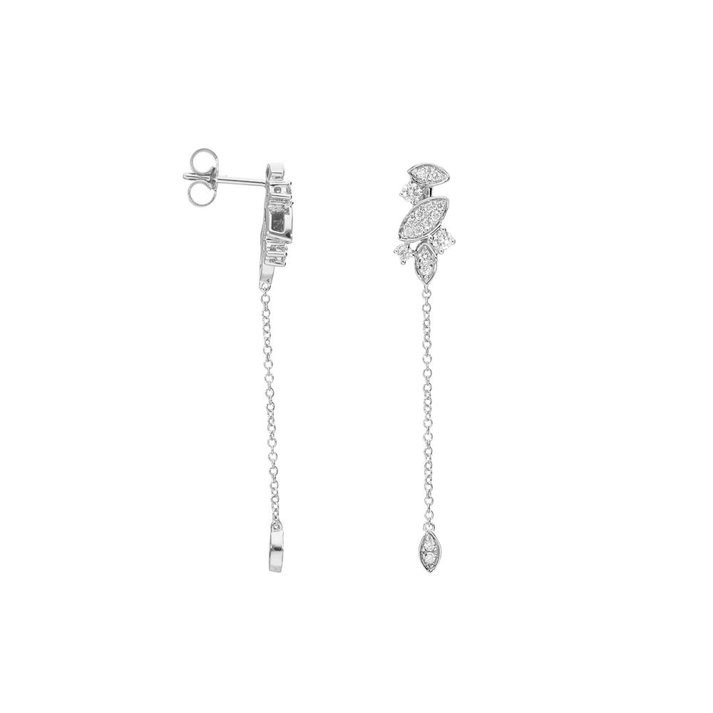 Pendientes en oro blanco y diamantes 0,40 ct.