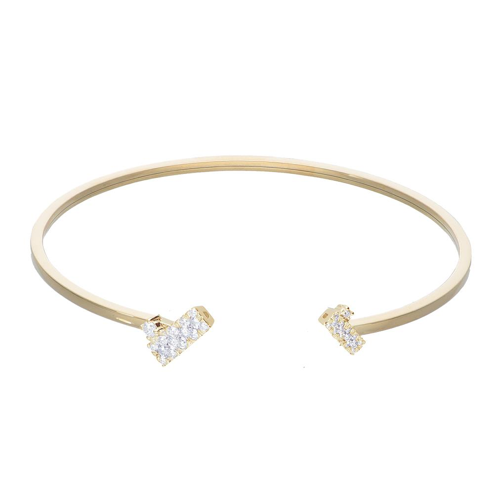 Bracciale bangle in oro giallo e diamanti 0,50 ct