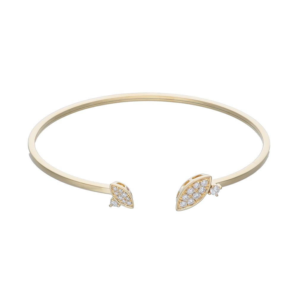 Yellow gold bangle bracelet with diamonds 0,30 ct