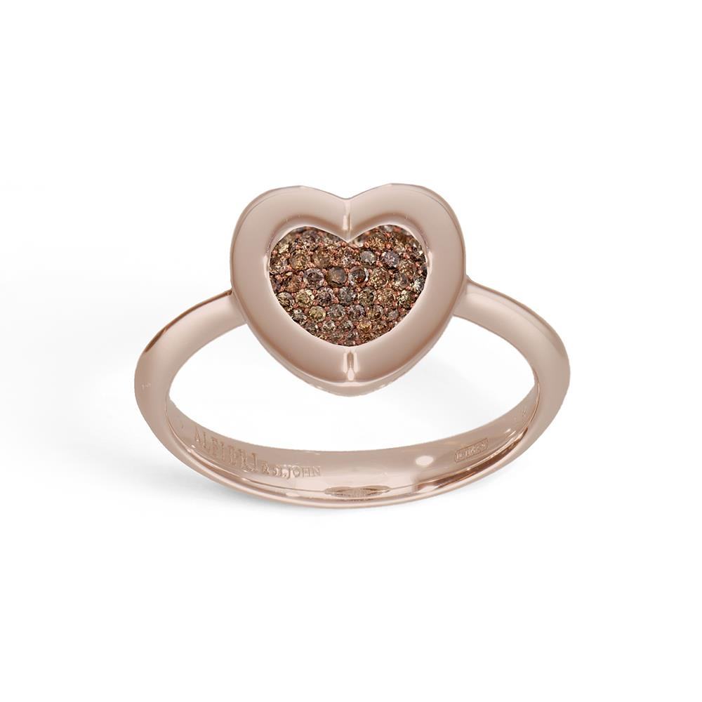 Anello cuore in oro rosa e diamanti brown ct 0,12
