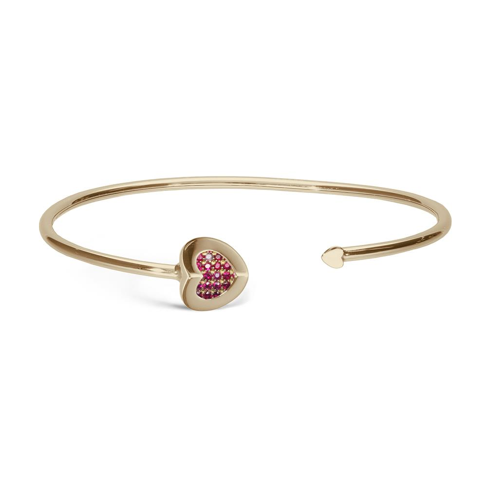 Yellow gold heart bracelet with 0.01 ct diamonds and 0.15 ct rubies  Available in white and pink gold and in variants with emeralds and sapphires