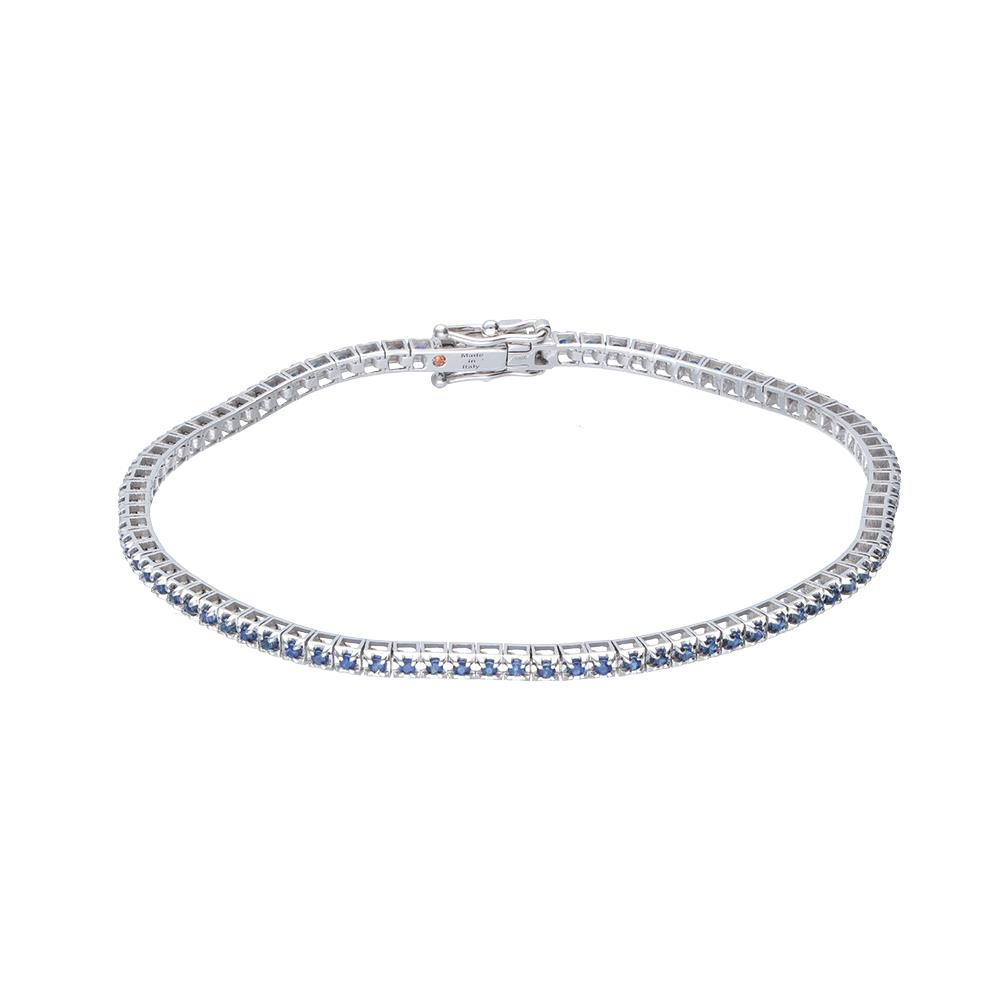 Pyramids tennis bracelet in white gold with sapphires