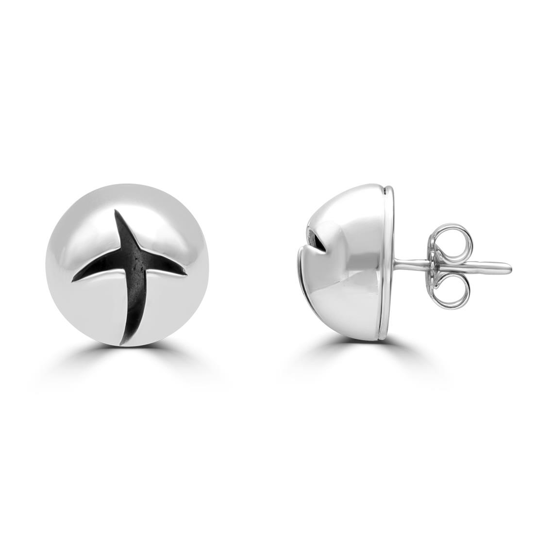 Sterling silver earrings with carved crosses