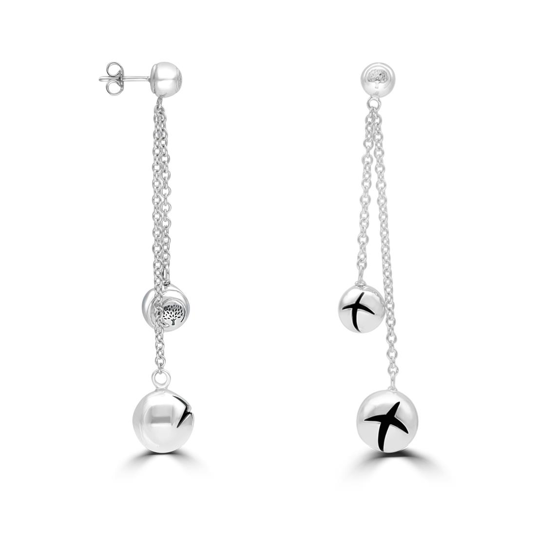 Sterling silver pendant earrings with  spheres and carved crosses