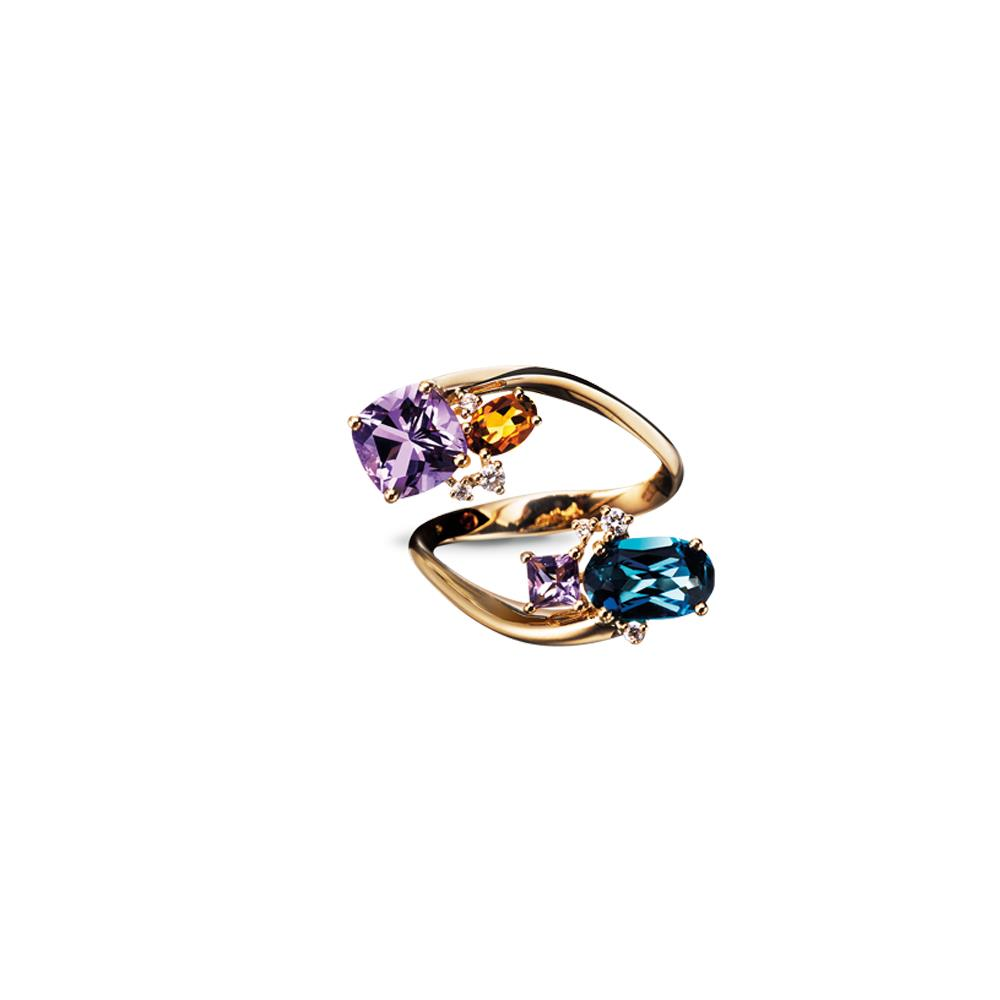 Twisting 18 ktyellow gold ring with antique-cut amethyst, oval-cut madera quartz, oval-cut london topaz, and carrè-cut amethyst and 0,15 ct diamonds