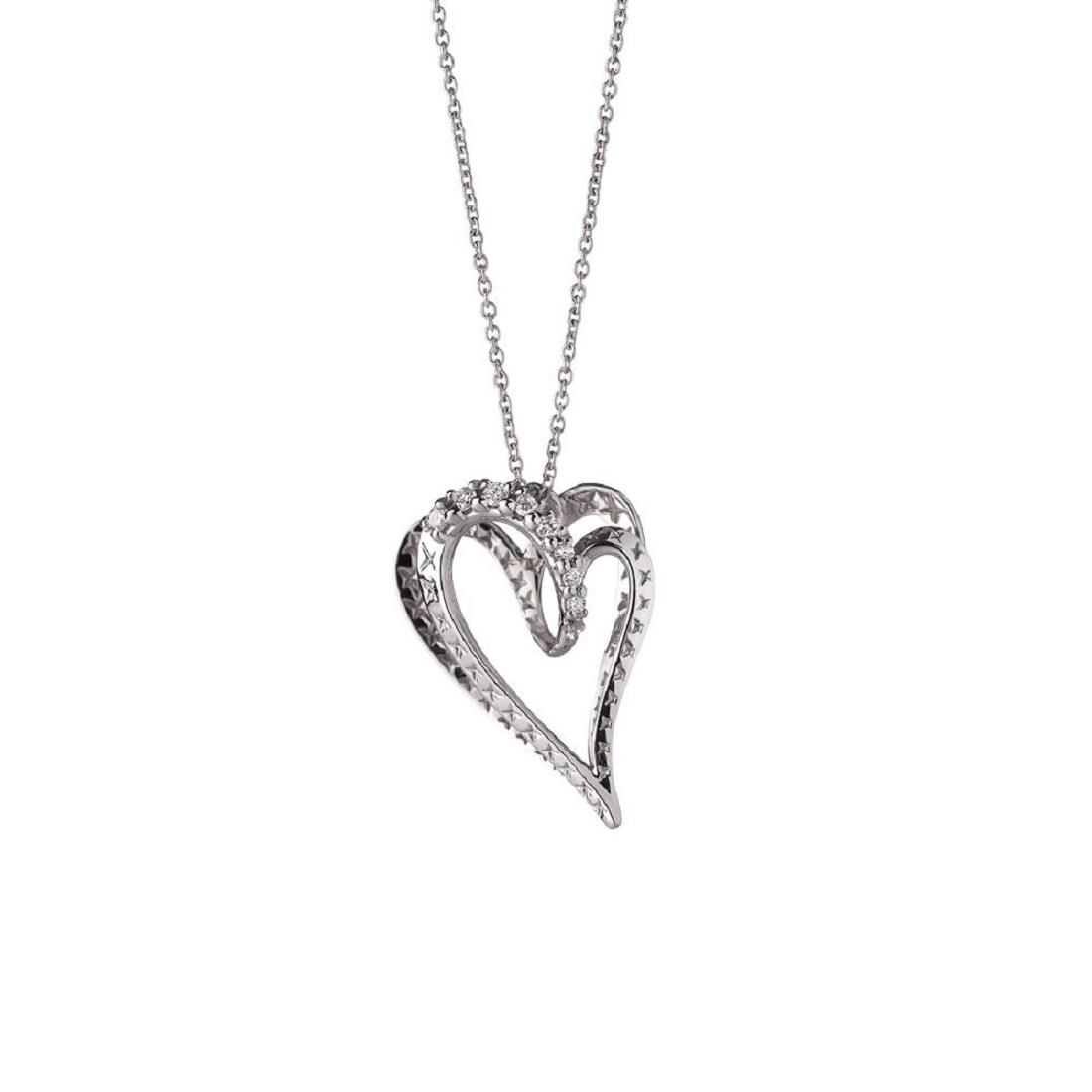 Small heart pendant in 18 kt white gold with 0,04 ct diamonds  