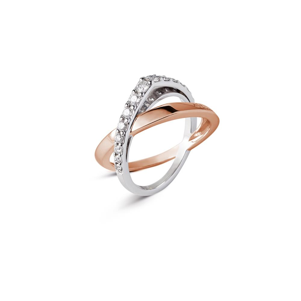 Intertwined ring in 18 kt white and rose gold set with 0,50 ct diamonds