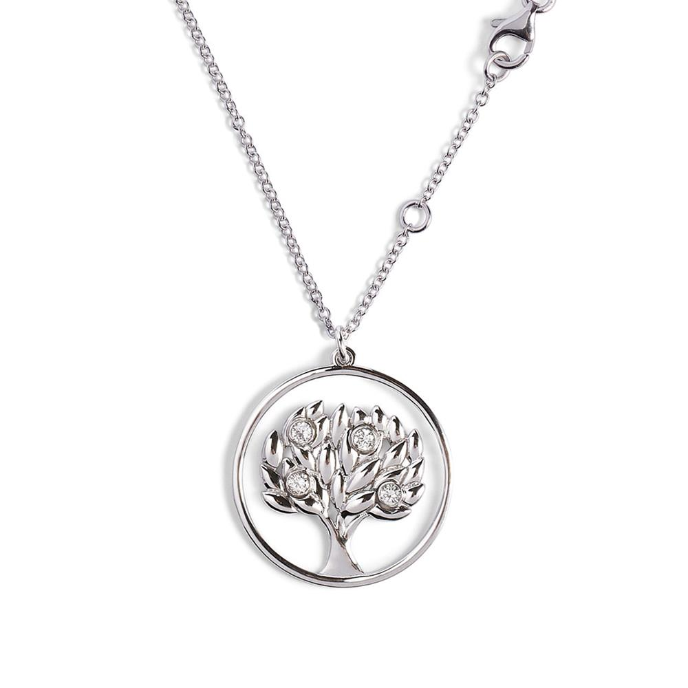 Life tree pendant in 18 kt white gold with 0,20 ct diamonds