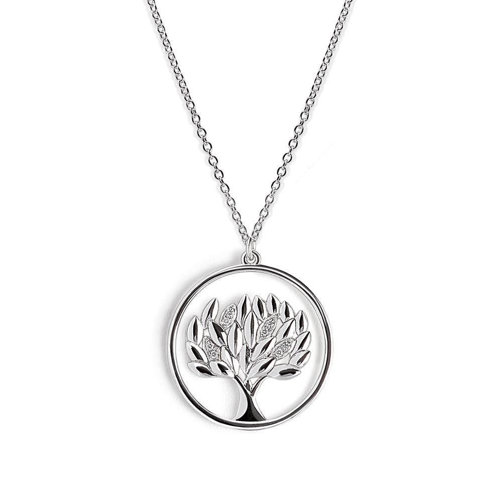 Life tree pendant in 18 kt white gold with 0,06 ct for four diamonds leaves – Chain length 42 cm