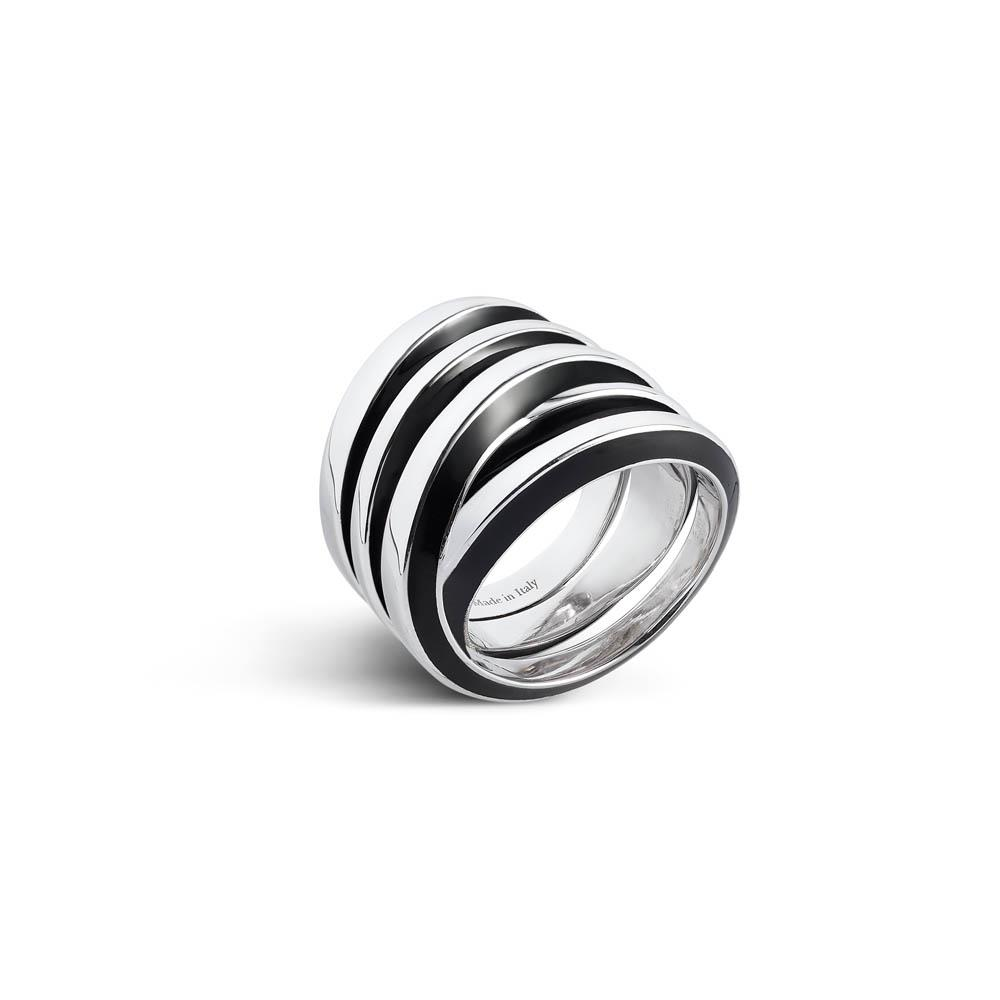 Sterling silver ring with black enamel , SIZE N