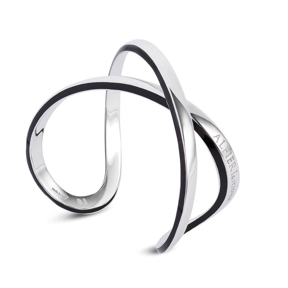 Bracciale in argento incrocio con profili in smalto nero Disponibile anche senza smalto e metallo di colori differenti
