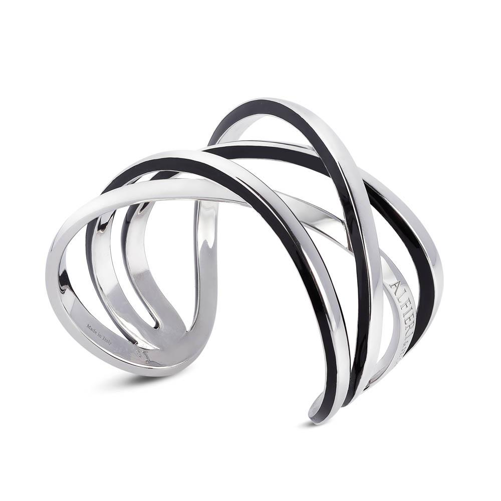 Sterling silver bangle with black enamel, small size