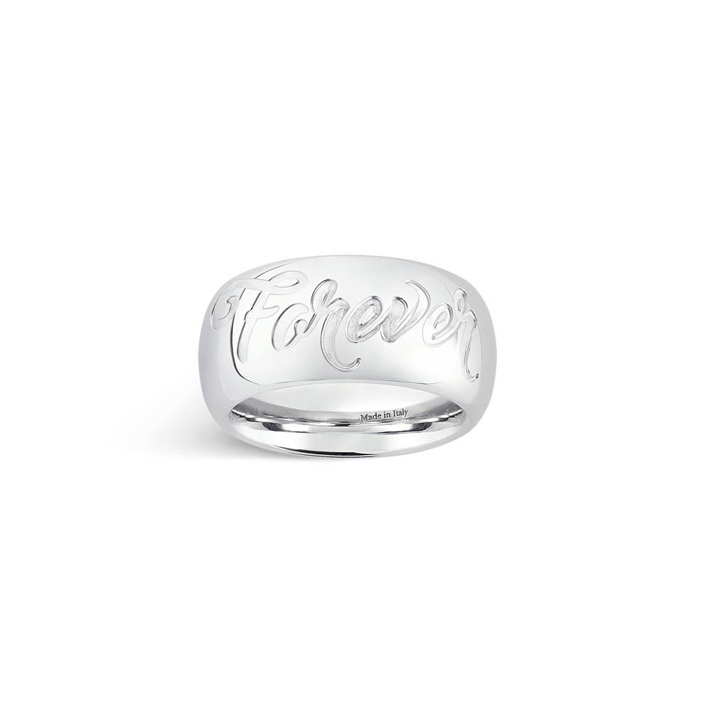"""Forever"" sterling silver band ring size 14"