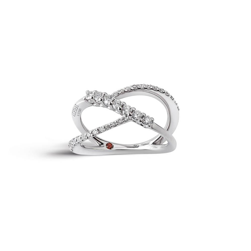 Alfieri & St John ring 1937 collection in white gold with diamonds ct. 0.44 color G purity SI. Miusra 14