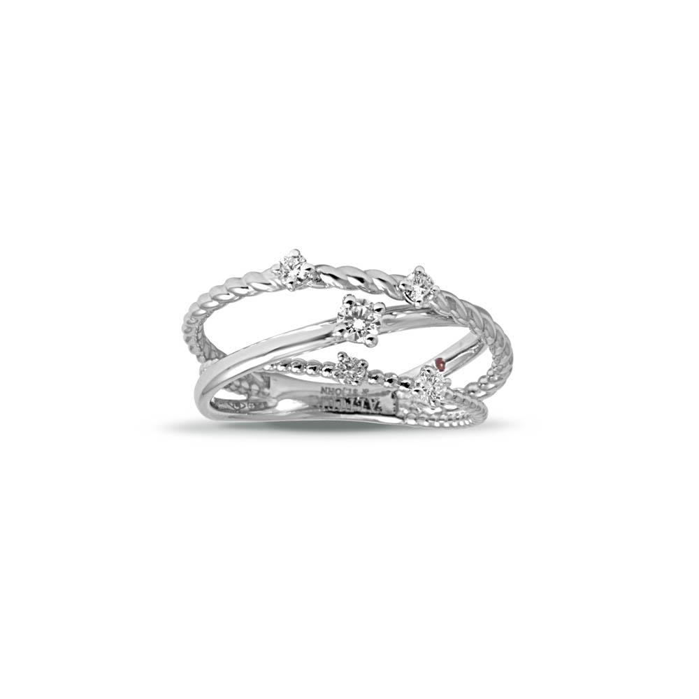 Alfieri & St John multi-strand ring in white gold with diamonds ct 0.27, color G, purity SI. Measure 14