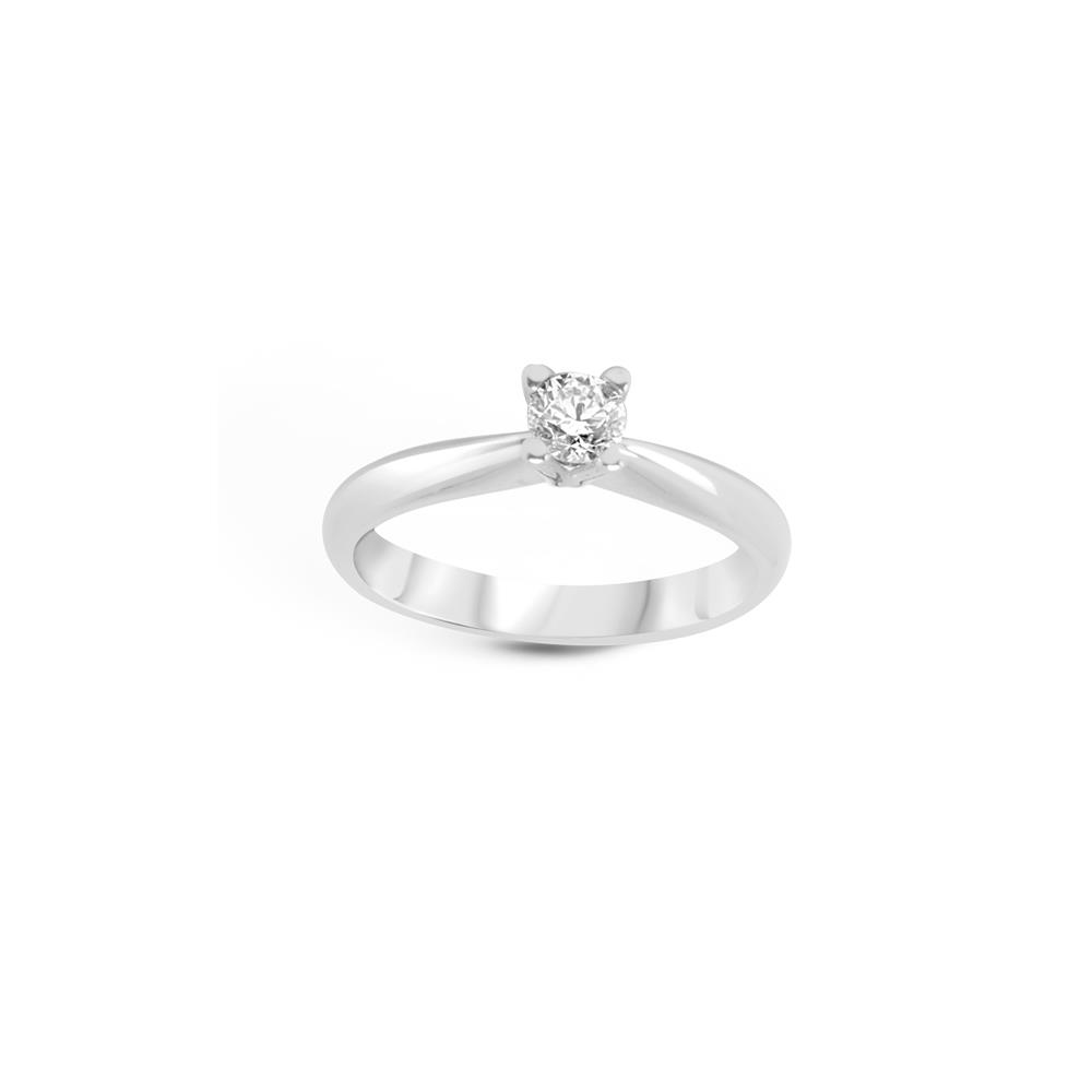 Four griffes solitaire diamond ring set in white gold ct 0.40. Available in different weighing in carats