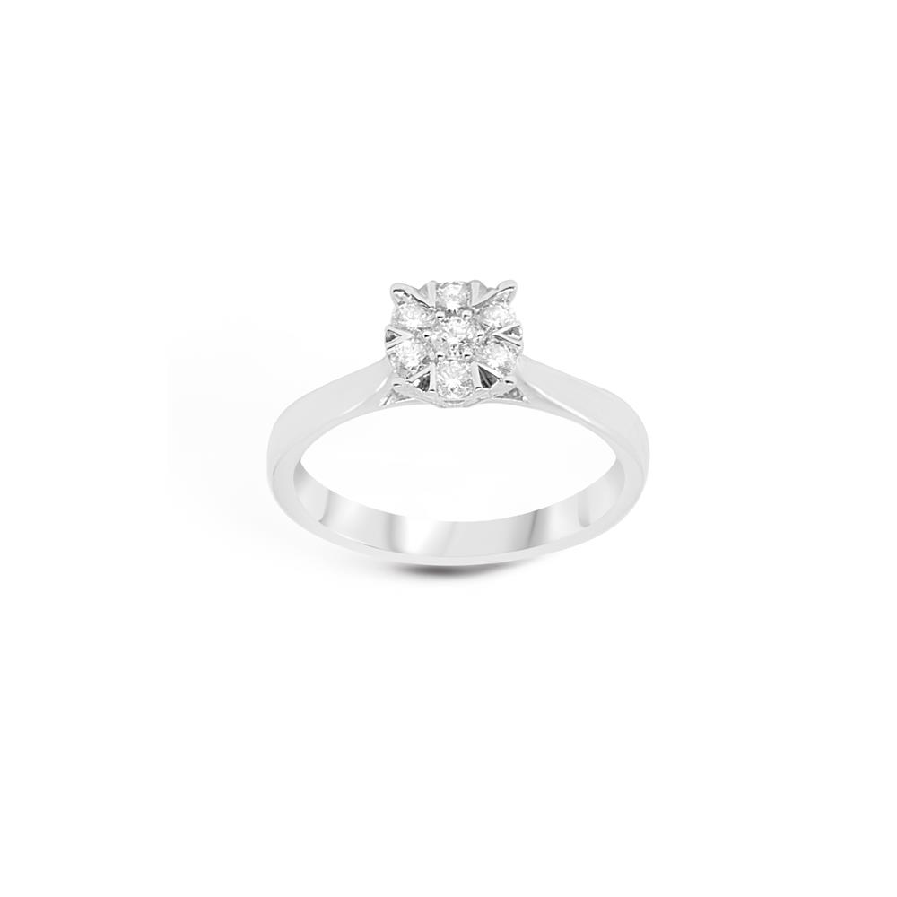 """White god ring with 0.75 ct diamonds, invisible setting and """"A"""" shaped griffes.  Available in different weighing in carats"""