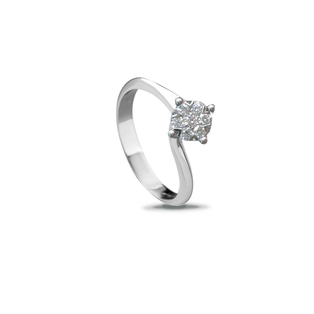 White gold Valentino ring with 0.75 ct diamonds, invisible setting Available in different weighing in carats
